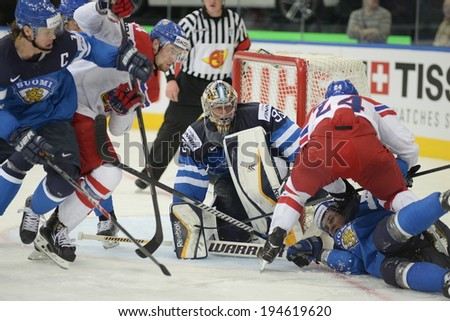 MINSK, BELARUS - MAY 24: RINNE Pekka (35) of Finland looks on during 2014 IIHF World Ice Hockey Championship semifinal match at Minsk Arena on May 24, 2014 in Minsk, Belarus.