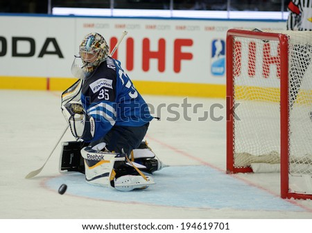 MINSK, BELARUS - MAY 24: RINNE Pekka (35) of Finland looks on the puck during 2014 IIHF World Ice Hockey Championship semifinal match at Minsk Arena on May 24, 2014 in Minsk, Belarus.
