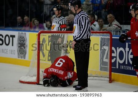 MINSK, BELARUS - MAY 20: RUFENACHT Thomas (9) of Switzerland during 2014 IIHF World Ice Hockey Championship match on May 20, 2014 in Minsk, Belarus