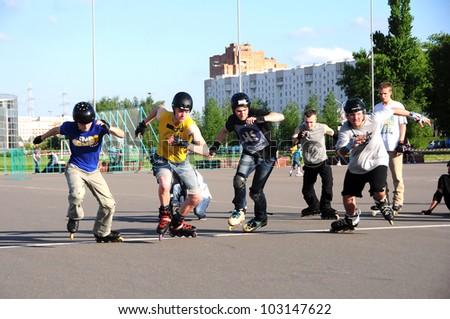 MINSK,BELARUS -MAY 19: School Roller Cup 2012 - Stage 1 (FSK). Unidentified sportsmen at the start (Bleydner Cross) on May 19, 2012 in Minsk, Belarus #103147622