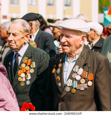 MINSK, BELARUS - MAY 9: Unidentified veterans during the celebration of Victory Day on May 9, 2012 in Minsk, Belarus.