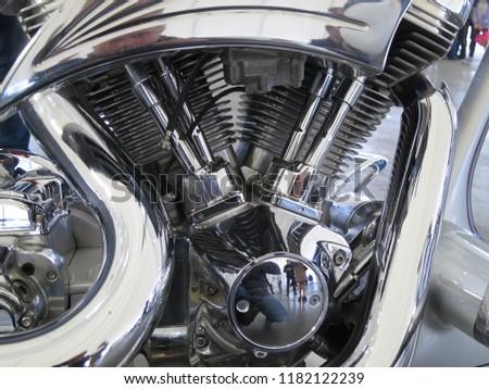 Minsk, Belarus-September 13, 2018:   Chrome motorcycle engine parts close-up. #1182122239