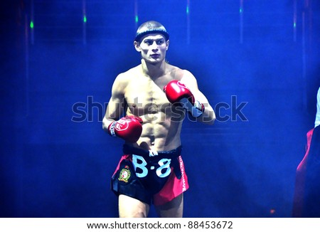 MINSK, BELARUS-SEPTEMBER 12: Fighter Andrej Kulebin (from Belarus) competes in the BIG8 MUAY-THAY CHAMP in Minsk, Belarus on September 12, 2010