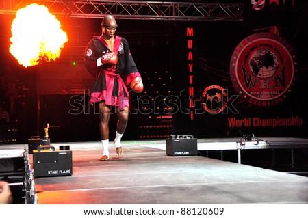 MINSK, BELARUS-SEPTEMBER 12: Mthobisi Buthelezi (Africa) arrives at BIG8 MUAY-THAY CHAMP in Minsk, Belarus on September 12, 2010