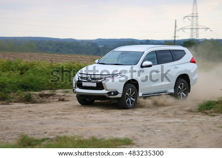 MINSK, BELARUS SEPTEMBER 14, 2016: New Mitsubishi Pajero Sport V6 at the test drive event for automotive journalists from Minsk #483235300