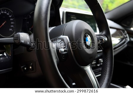 MINSK - JULY 2015: BMW X6 M50d at the test drive event for automotive journalists from Minsk