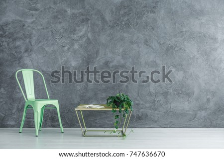 Mint chair next to table with book and plant against grey textured wall in spacious room, copy space interior concept