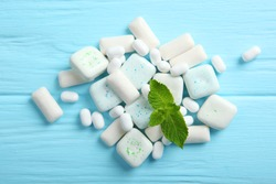 mint chewing gum and mint on the table. Fresh breath, oral care