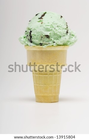 stock photo : Mint chocolate chip ice cream cone