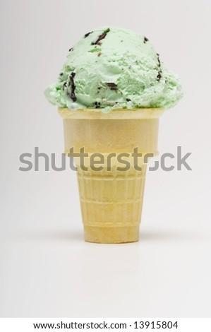 stock photo : Mint chocolate chip ice cream cone