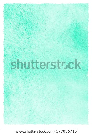 Mint green watercolor background with stains and rough uneven edges. Spring, easter watercolour texture. Soft pastel color. Hand drawn abstract fill. Template for cards, banners, posters.