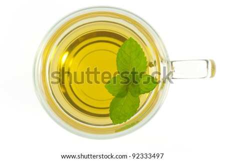 mint tea with mint leaves isolated on white directly above