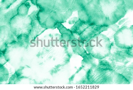 Mint Tie Dye Grunge Banner. Aquarelle Tie Dyed Bleach Paper. Tie Dye Grunge Brushing. Messy Tie Dyed Background. Trendy Fabric Watercolour. Abstract Watercolor Banner.