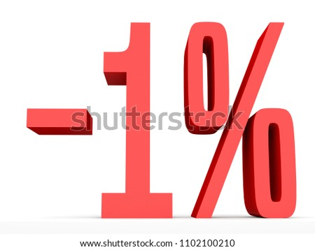 Minus one percent. Discount 1 %. 3D illustration on white background.