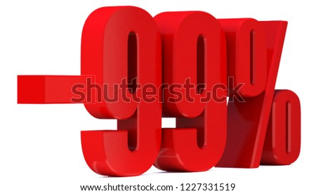 Minus 99 Percent off 3d Sign on White Background, Special Offer 99% Discount Tag, Sale Up to 99 Percent Off,big offer, Sale, Special Offer Label, Sticker, Tag, Banner, Advertising, offer Icon