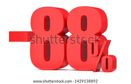 Minus 88 Percent off 3d Sign on White Background, Special Offer 88% Discount Tag, Sale Up to 88 Percent Off,big offer, Sale, Special Offer Label, Sticker, Tag, Banner, Advertising, offer Icon