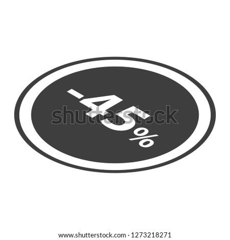 Minus 45 percent sale black emblem icon. Isometric of minus 45 percent sale black emblem icon for web design isolated on white background