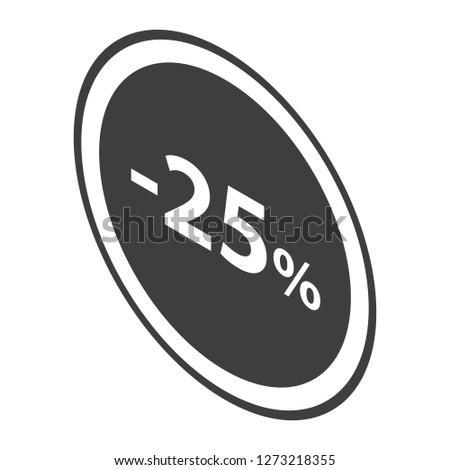 Minus 25 percent sale black emblem icon. Isometric of minus 25 percent sale black emblem icon for web design isolated on white background