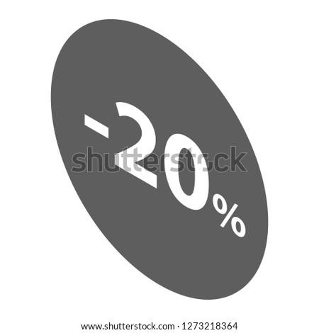 Minus 20 percent sale black emblem icon. Isometric of minus 20 percent sale black emblem icon for web design isolated on white background