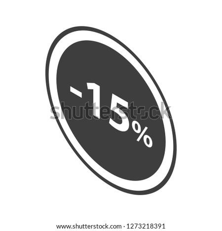 Minus 15 percent sale black emblem icon. Isometric of minus 15 percent sale black emblem icon for web design isolated on white background