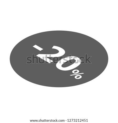 Minus 20 percent sale black icon. Isometric of minus 20 percent sale black icon for web design isolated on white background