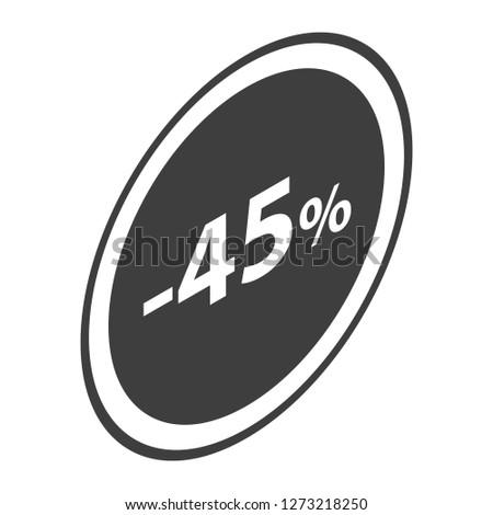 Minus 45 percent sale black icon. Isometric of minus 45 percent sale black icon for web design isolated on white background