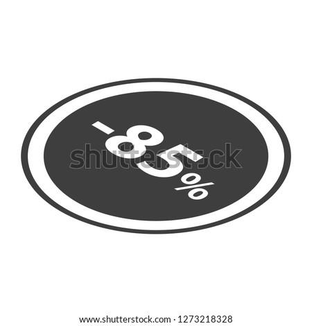 Minus 85 percent sale black icon. Isometric of minus 85 percent sale black icon for web design isolated on white background