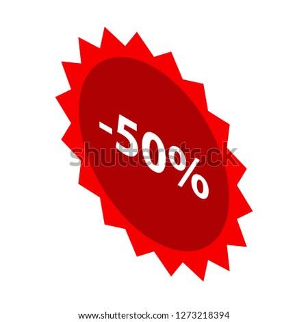 Minus 50 percent sale red emblem icon. Isometric of minus 50 percent sale red emblem icon for web design isolated on white background
