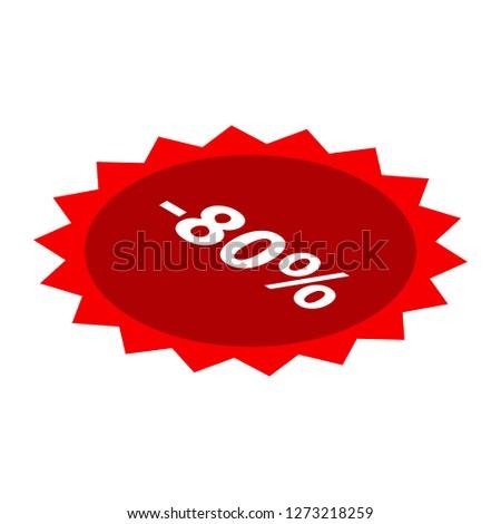 Minus 80 percent sale red icon. Isometric of minus 80 percent sale red icon for web design isolated on white background