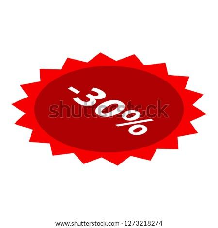 Minus 30 percent sale red icon. Isometric of minus 30 percent sale red icon for web design isolated on white background