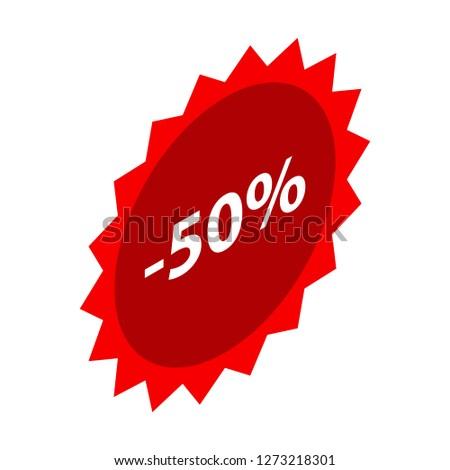 Minus 50 percent sale red icon. Isometric of minus 50 percent sale red icon for web design isolated on white background