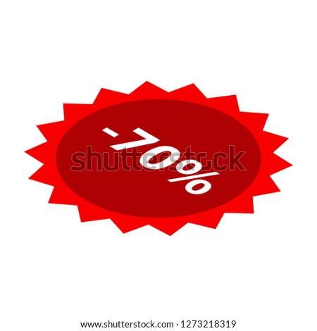 Minus 70 percent sale red icon. Isometric of minus 70 percent sale red icon for web design isolated on white background