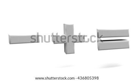 Minus, plus, equal 3D signs, with big fonts isolated on white background. 3D rendering.