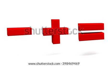 Minus, plus, equal 3D signs, with big golden fonts isolated on white background. 3D rendering.
