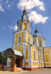 Miracle Church of St. Michael. Temple in honor of the miracle of the Archangel Michael in Khonekh. Novozybkov. Bryansk. Russia. Church of the Archangel Michael. Temple with a three-tiered bell tower