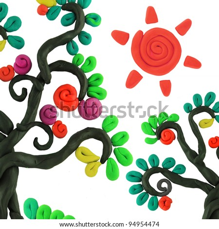miracle story isolated plasticine trees