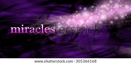 Miracles background - wide purple swirling lines background with the word MIRACLES on left side and glittering sparkles merging with the word