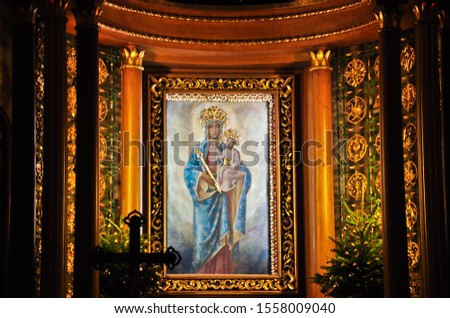 Miraculous image of Saint Mary with baby Jesus. Sanctuary of Mother of God, Polish Queen (Szczyrk, Beskid Slaski, Poland). Popular pilgrimage site. Place famous for revelations and miracles.