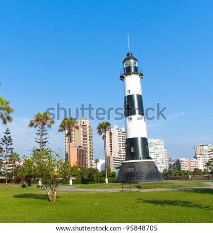 Miraflores lighthouse sited in Lima peru