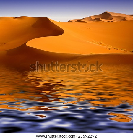 Mirage of the water in the Moroccan desert. Background image