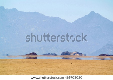 Mirage (water) in desert, Africa