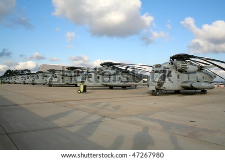 MIRAMAR, CALIFORNIA, USA - OCTOBER 15: US Marines CH-53E Super Stallion helicopter line-up at Miramar Air Show October 15, 2006 in Miramar, California, USA.