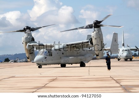 MIRAMAR, CALIFORNIA, USA - OCTOBER 15: US Marines MV-22 Osprey taxiing for take off at the Miramar Air Show on October 15, 2006 in Miramar, California, USA.