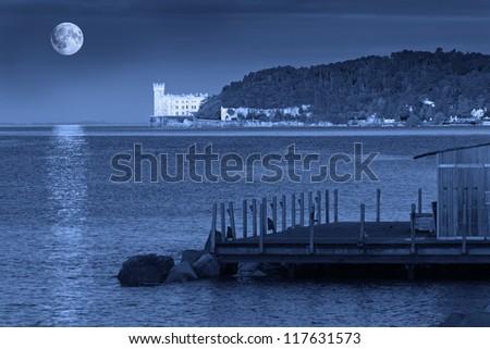 Miramare Castle in Trieste on a Full Moon Night