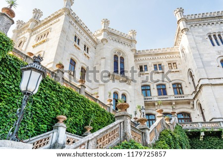 Miramare castle near Trieste, northeastern Italy. Travel destination. Beautiful architecture.