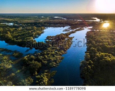 Miranda River photographed in Corumba, Mato Grosso do Sul. Pantanal Biome. Picture made in 2017. #1189778098