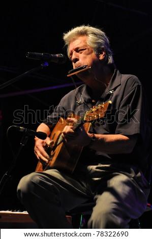 MIRI SARAWAK, MALAYSIA -MAY 13 : Blues musician John Hammond performs in Borneo Jazz Festival on May 13, 2011 in Miri Sarawak, Malaysia