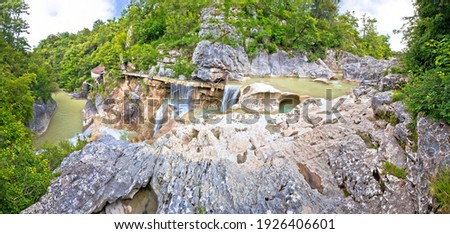 Mirna river canyon landscape in Kotli panoramic view, inland Istria region in Croatia Zdjęcia stock ©