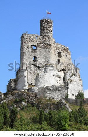 Mirow castle - old fortress in Poland. Landmark in Europe.