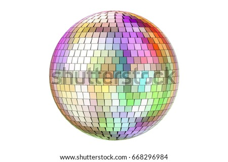 Mirror disco ball, 3D rendering isolated on white background